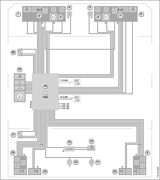 system wiring diagram for exterior lights with automatic headlight beam  throw adjustment (frm control unit)